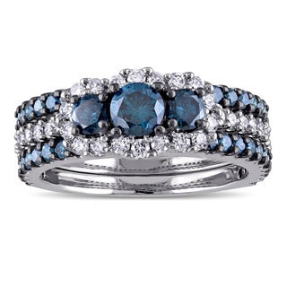 Miadora Signature Collection 10k White Gold 2ct TDW Blue and White Diamond 3-stone Bridal Ring Set (G-H, I2-I3)
