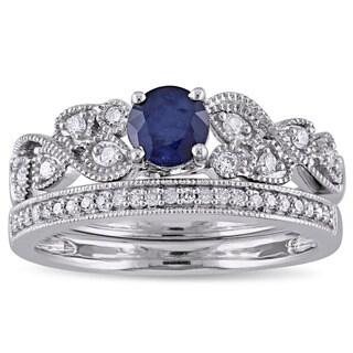 Miadora Signature Collection 10k White Gold Diffused Sapphire and 1/5ct TDW Diamond Filigree Bridal Set (G-H, I2-I3)