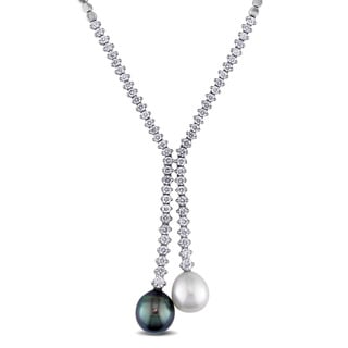 Miadora Signature Collection 14k White Gold Black Tahitian and White South Sea Pearl and 2 4/5ct Diamond Necklace (G-H, I1-I2)
