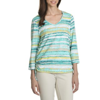 Caribbean Joe Women's Horizon Stripe Print Side Rouch Top