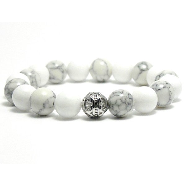 AALILLY Women's 10mm White and Black Texture Natural Beads Stretch Bracelet 19884328