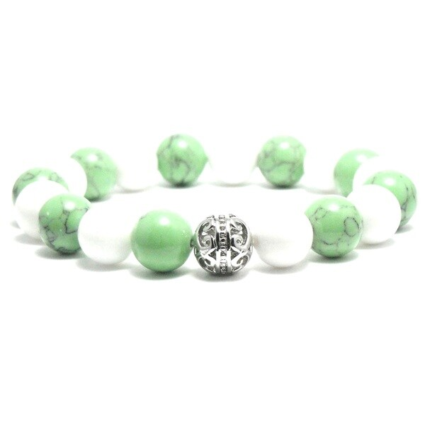 Women's 10mm White, Green and Silvertone Textured Natural Beads Stretch Bracelet 19884329