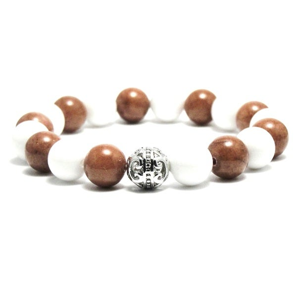 AALILLY Women's 10mm White and Brown Natural Beads Stretch Bracelet 19884353