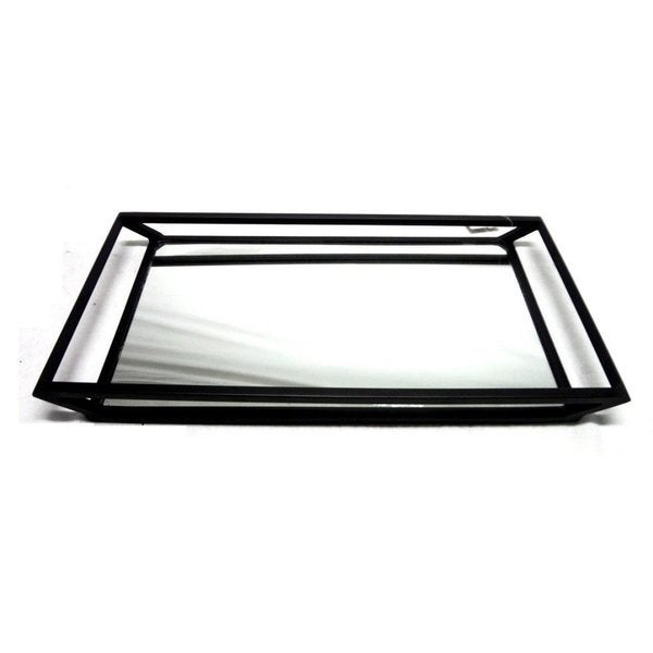 Elegance Rectangular with Mirror Bottom Black Color Stainless Steel Tray
