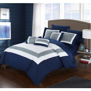 Chic Home Darren Navy 10-Piece Bed in a Bag Comforter with Sheet Set