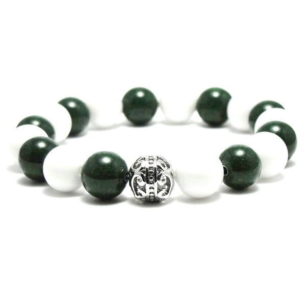 Women's 10mm White and Green Natural Beads Stretch Bracelet 19884386