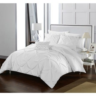 Porch & Den Lynn White Pinch Pleated 4-piece Duvet Cover Set