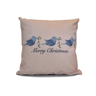 26 x 26-inch Merry Christmas Birds Word Holiday Print Pillow