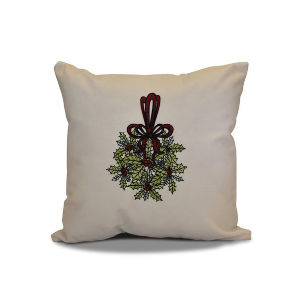 26 x 26-inch Traditional Mistletoe Floral Holiday Print Pillow