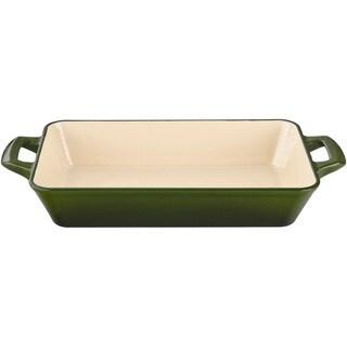 LaCuisine Green Large Deep Cast Iron Roasting Pan with Enamel Finish