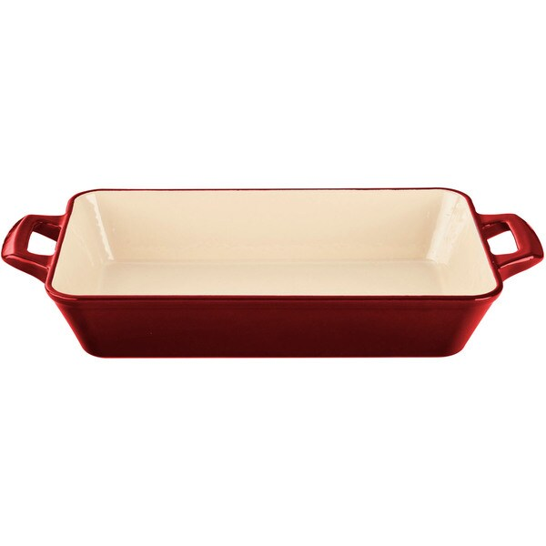 La Cuisine Large Deep Cast Iron Roasting Pan with Enamel Finish, Red