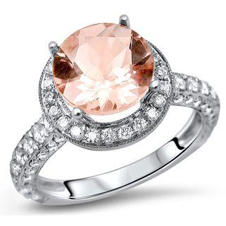 Noori 18k White Gold 1 3/5ct TGW Round Morganite and 7/8ct TDW Diamond Engagement Ring (G-H, SI1-SI2)