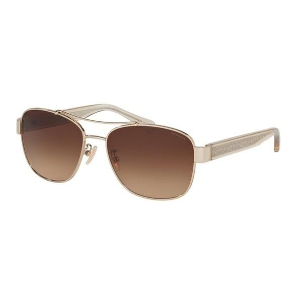Coach HC7064 L151 926513 Light Gold Womens Metal Aviator Sunglasses