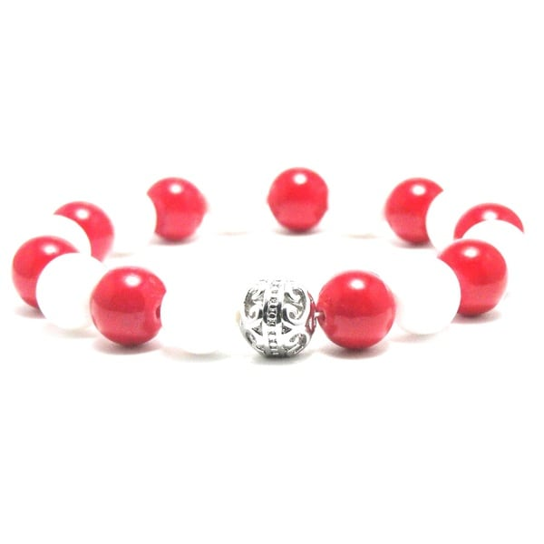 Women's 10mm White and Red Natural Beads Stretch Bracelet 19885336