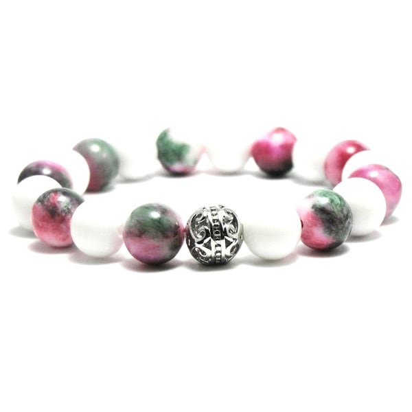 Women's 10mm White, Pink and Green Texture Natural Beads Stretch Bracelet 19885337