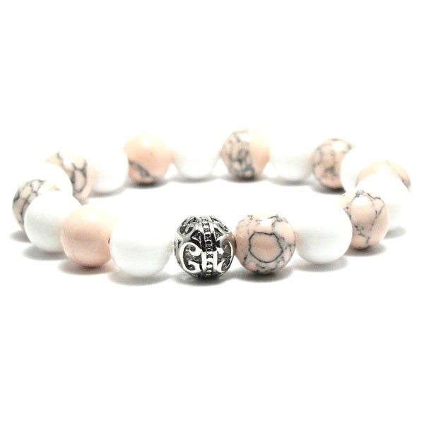AALILLY Women's 10mm White, Peach and Black Textured Natural Beads Stretch Bracelet 19885340