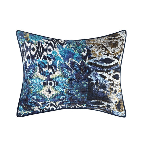 Tracy Porter Sisley Blue and White Cotton Quilted Floral Sham