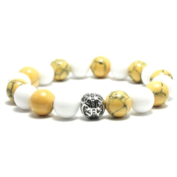 AALILLY Women's 10mm White and Khaki Marble Natural Beads Stretch Bracelet 19885373