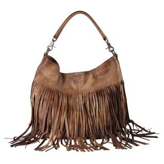 Diophy Brown Genuine Leather Fringe Style Hobo Handbag