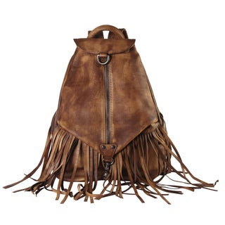 Rimen & Co. Diophy Brown Genuine Leather Fringe Zippered Fashion Backpack
