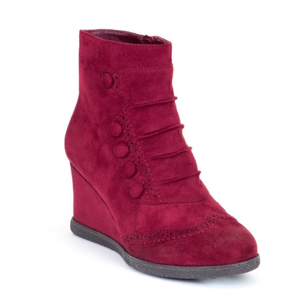 Gc Shoes Women's Madeline Burgundy Wedge Booties