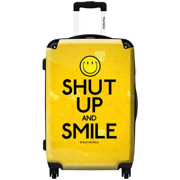 Murano Smiley 'Shut Up and Smile' 20-inch Fashion Carry-on Hard-sided Spinner Suitcase