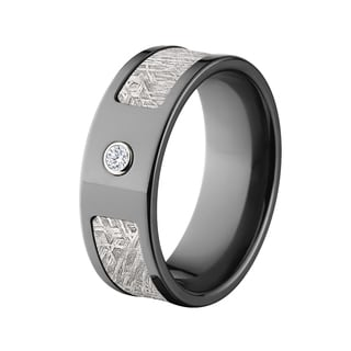 Black Zirconium Meteorite and 0.06-carat Diamond 8-millimeter Ring
