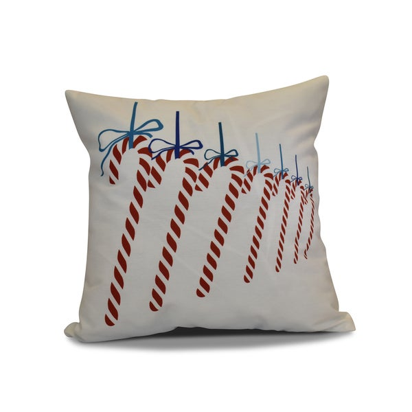 20 x 20-inch Candy Canes Geometric Holiday Print Pillow