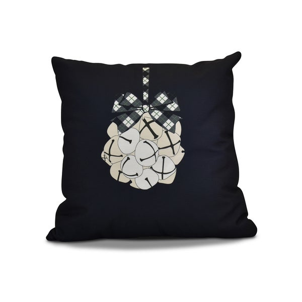 20 x 20-inch Jingle Bells Geometric Holiday Print Pillow