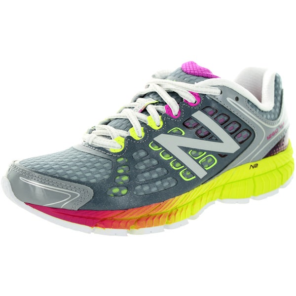 New Balance Women's 1260V4 Grey/Lime/Plenty Pink Running Shoe
