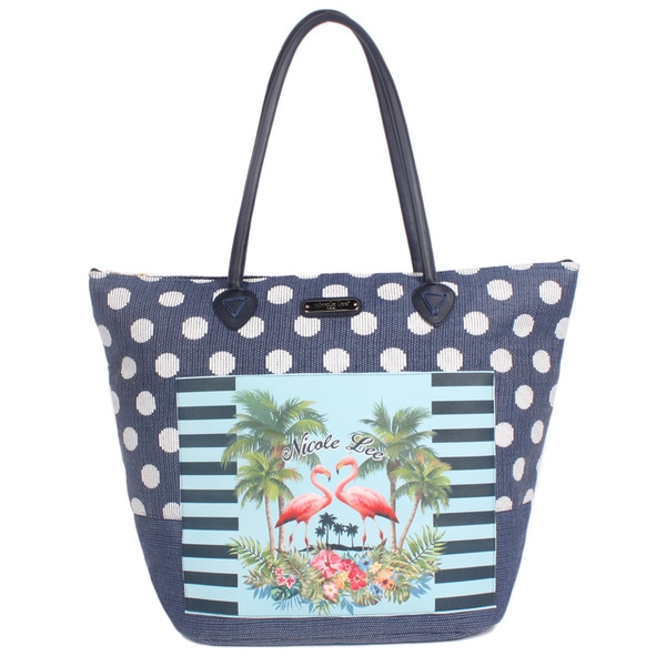 Nicole Lee Karly Navy Beach Tote Bag
