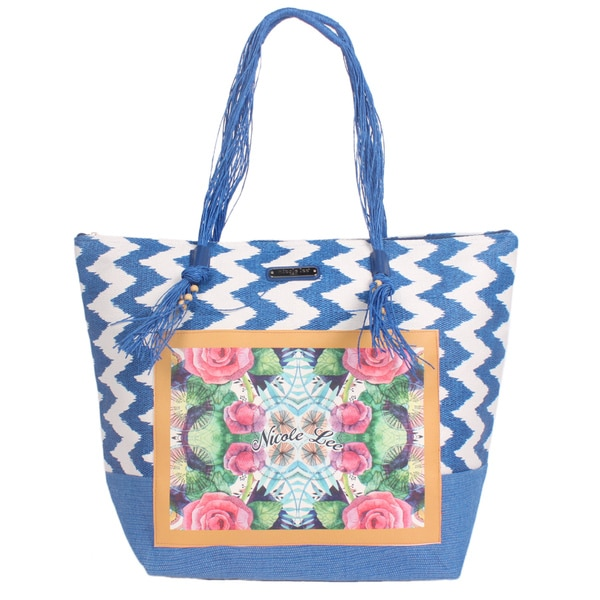 Nicole Lee Jeri Blue Beach Tote Bag
