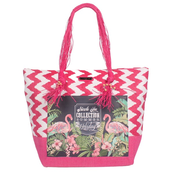 Nicole Lee Jeri Pink Beach Tote Bag
