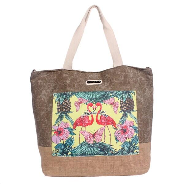 Nicole Lee Roxie Natural Beach Tote Bag