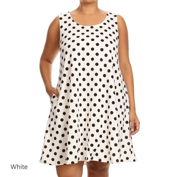 White/Black Sleeveless Polka-dot Shift Dress