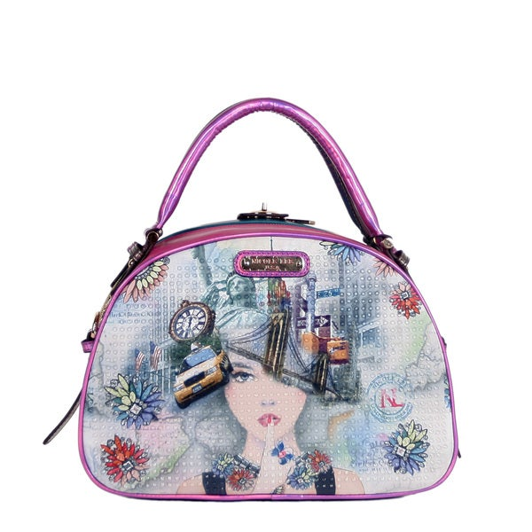 Nicole Lee New York New York Print Bowler Handbag