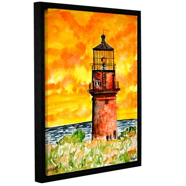 Derek McCrea's 'Gay Head Lighthouse Marthas Vineyard' Gallery Wrapped Floater-framed Canvas