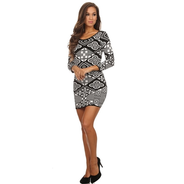 Women's Grey/Black Rayon/Polyester Body-con Mini Dress