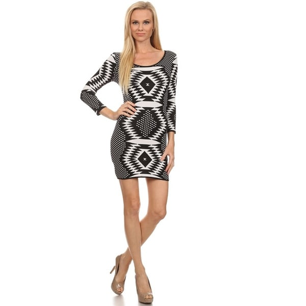 Women's Bodycon Black/White Polyester/Rayon Tribal Dress