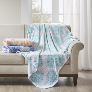 Madison Park Sydney Oversized Printed Plush Throw 2-Color Options