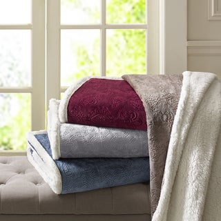 Madison Park Celia Oversized Textured Plush Berber Throw 4-Color Options