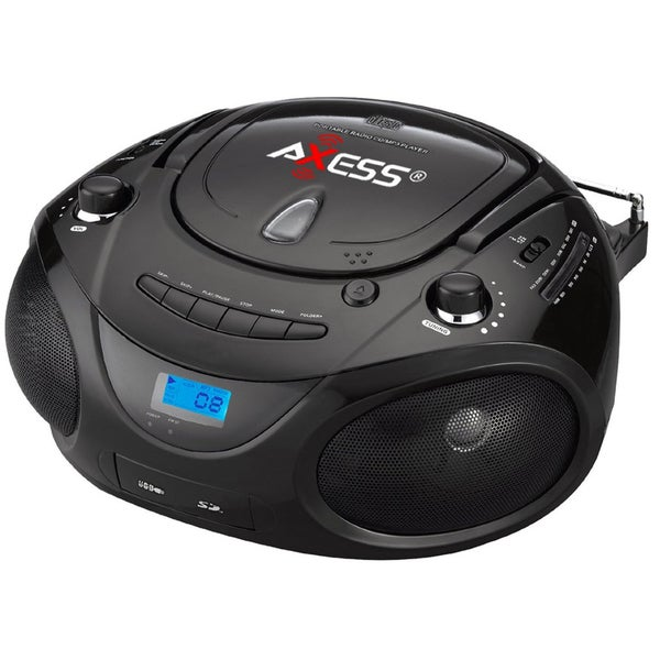 Axess Black MP3/CD Player USB Port, SD MMC Slot Portable Boom Box
