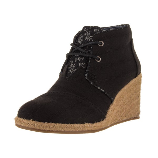 Toms Women's Desert Wedge Black Casual Shoe