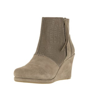 Toms Women's Desert Wedge High Taupe Suede Croc Boot