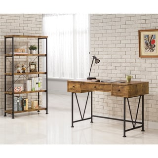 Carbon Loft Jess Black Metal V-base 3-drawer Desk, Brown