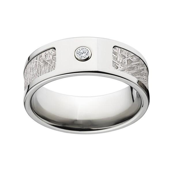 8mm Flat Titanium Meteorite .06-carat Diamond Ring