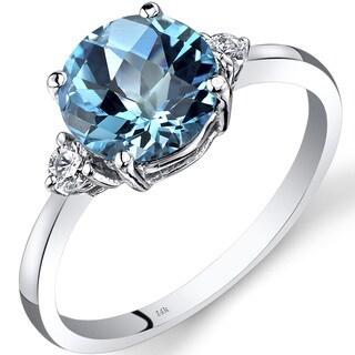 Oravo 14k White Gold 2 1/4ct TGW Swiss Blue Topaz Round-cut 1/10ct TDW Diamond Ring