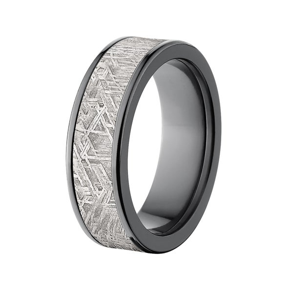 Flat Black 7mm Zirconium Meteorite Ring