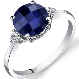 Oravo 14k White Gold 2 1/2ct TGW Sapphire Round-cut 1/10ct TDW Diamond Ring