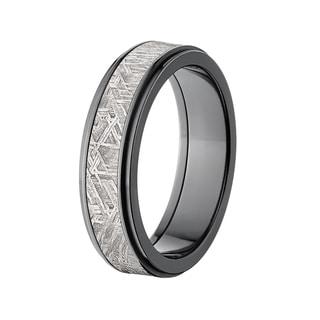 Black Zirconium Meteorite 6-millimeter Raised Center Ring